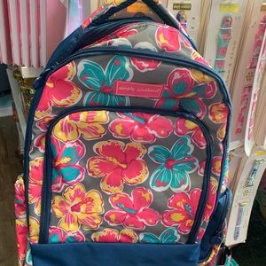 Simply Southern Pink Navy Hibiscus Backpack Bag